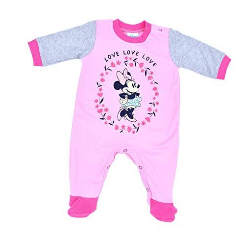 Disney Baby Minnie Maus Strampler Größe 56 62 68 74für Mädchen in Rosa Grau Babys Schlafanzug Langarm mit Füßchen Einteiler 0-12 Monate (56)