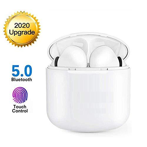 Bluetooth 5.0 Deportes inalámbricos Auriculares estéreo Bluetooth con micrófono Cascos con cancelación de Ruido Caja de Carga IPX5 a Prueba de Agua I12 Sudor, Emparejamiento automático