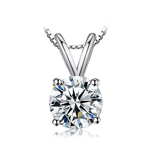 RXDZ Collar Colgante de Solitario Redondo 925 Sterling Silver Choker Declaración Collar Mujer Silver 925 Joyería sin Chainn