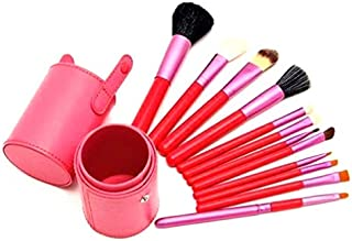 Pro Makeup Brushes 12pcs Kit in Cup Holder Case - Pink