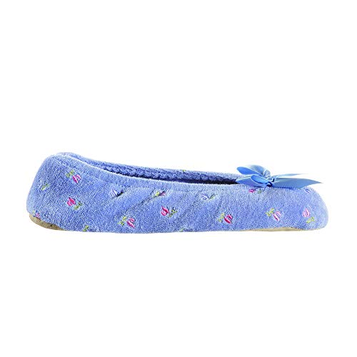 isotoner Women's Embroidered Terry Ballerina Slippers, Periwinkle, Large / 8-9