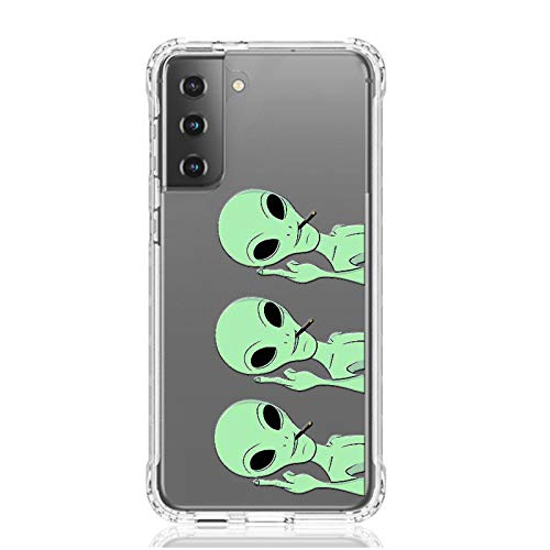 HUIYCUU Compatible with Galaxy S21 6.2' Case,Shockproof Anti-Slip Cute Green Animal Print Clear Design Pattern Funny Slim Crystal Soft Bumper Kid Girl Women Cover Case for Samsung Galaxy S21,Aliens