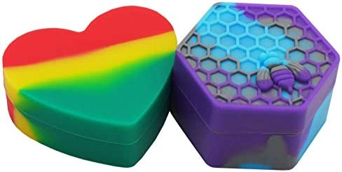 Vitakiwi 17ml 26ml Heart Honeybee Silicone Wax Concentrate Containers Non stick Oil Jars 2PCS product image