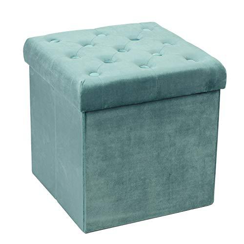 Bonlife Sitzhocker Samt Sitztruhe mit Stauraum Stoff Stauraum Sofa Hocker Sitzbank Flur Faltbarer Fußhocker Samttuch,Grün, 40 x 40 x 40 cm