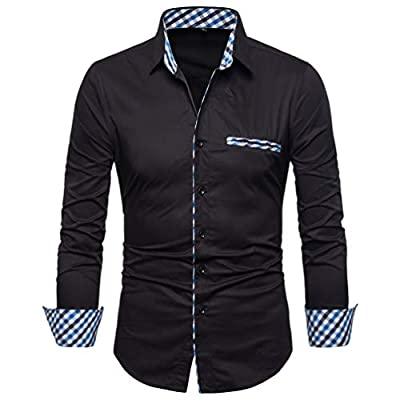 SIR7 Men's Cotton Button Down Casual Long Sleeve Shirts Inner Contrast Plaid Dress Slim Fit Shirt