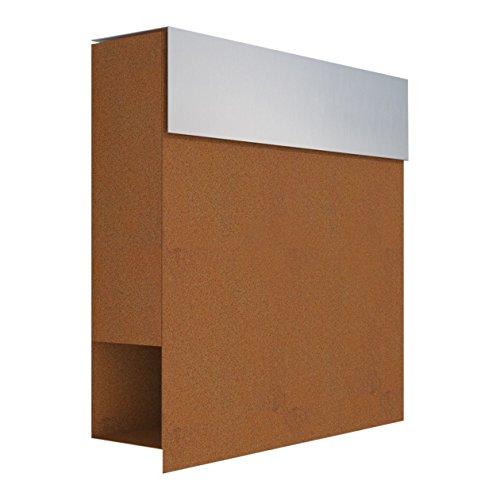 Briefkasten mit Zeitungsfach, Design Wandbriefkasten Manhattan Rost/Edelstahl - Bravios
