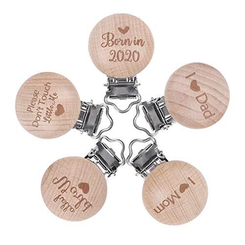 Mamimami Home 5pc Baby DIY Schnuller Clips Holz Schriftzug Memorial Text Beißring Clip Zubehör Sensorische Spielzeug Neugeborenen Geschenk