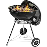 Grandma Shark Holzkohlegrill Kugelgrill, Compact Kettle Outdoor Camping Reise Grill mit Zwei Rädern, Schwarz (18 Zoll)