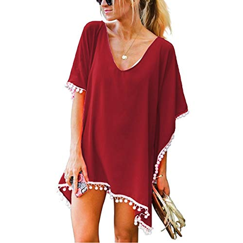 ECOMBOS Damen Strandkleid - Bikini Cover Up Strandponcho Chiffon Sommerkleid Sommer Bademode Blumenkleid Boho Kleid Tunika Strand Pareo mit Quasten (Wein rot)