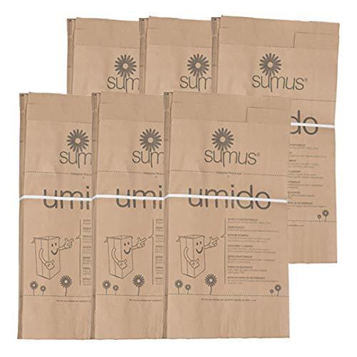 6 confezioni di Sacchetti di carta per umido e organico biodegradabili e compostabili (30 X 20) - 8 litri - 300 sacchetti Bio…