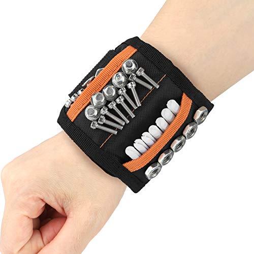 Pulsera Magnética,Wristband Magnético Ajustable con 15 Súper Imanes,Cinturon De Herramientas De Bricolaje,Fija Fácilmente Tornillos,Clavos,Brocas,Pernos para Hombres y Mujeres