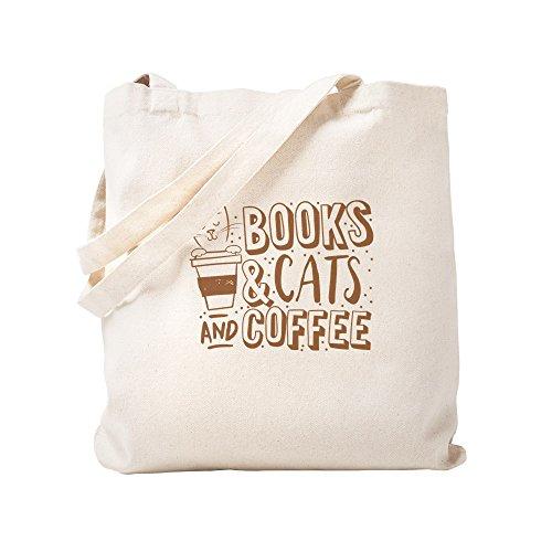 CafePress Tragetasche für Bücher und Katzen und Kaffee, canvas, khaki, S