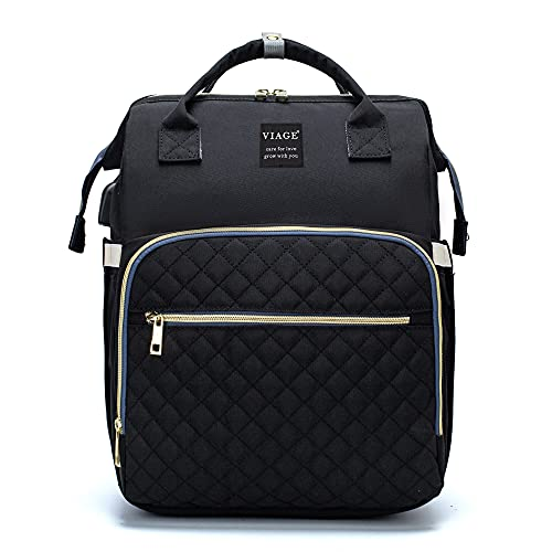 VIAGE Bolsas de pañales para bebé, portátil para cuna de viaje para cuna, mochila multifuncional impermeable con 2 ganchos para cochecito, 1 colchón, 1 sombrilla (Negro)