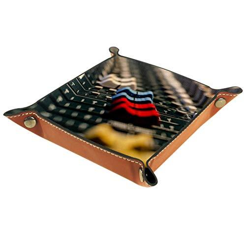 YATELI Kleine Aufbewahrungsbox,Herren-Valet-Tablett,Mischpult,Leder Catchall Organizer für Coin Box Key Schmuck