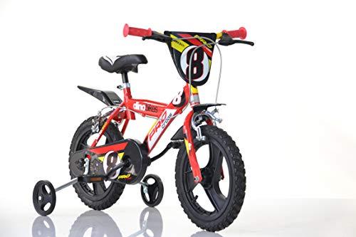 Dinobikes Jungen Kinderfahrrad rot 163GLN Jungenfahrrad – 16 Zoll | TÜV geprüft | Original | Kinderrad mit Stützrädern - Das Fahrrad als Geschenk für Jungen