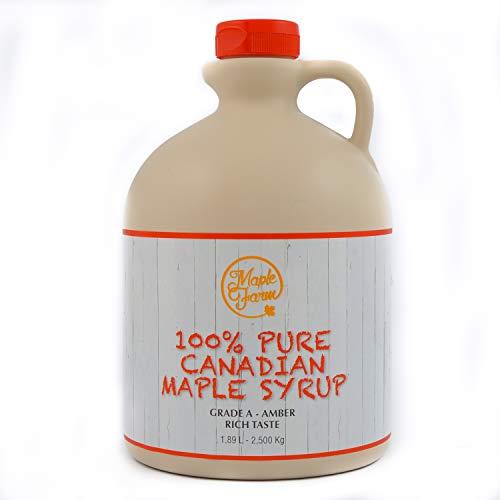 MapleFarm - Puro sciroppo d'acero Canadese. Grado A, Amber - 1,89 Litri - Pure maple syrup - sciroppo per pancake - sciroppo per waffle - succo acero - sciroppo di acero