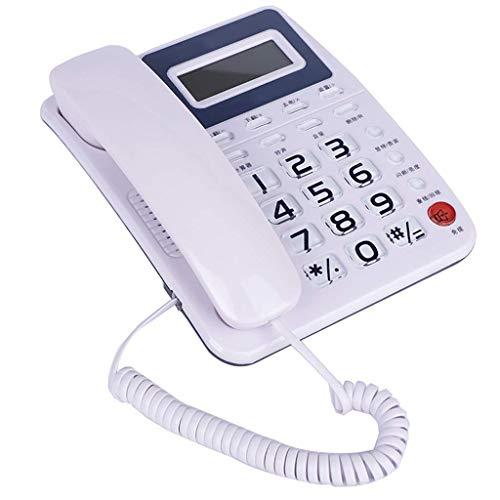 Sywlwxkq Teléfono Fijo de botón Grande/con Cable para Personas Mayores.Manos Libres, Altavoz, Pantalla, Montaje en Pared/Mesa de Escritorio, Material de abs, calculadora.