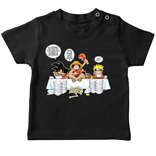 T-Shirt bébé Noir Parodie DBZ, One Piece et Naruto - Luffy, Sangoku et Naruto - Manger, Cogner, Dormir, la Recette du Bon Shonen : (T-Shirt de qualité Premium de Taille 24 Mois - imprimé en France