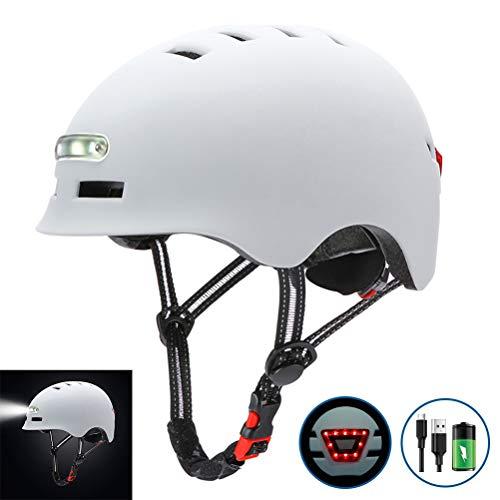 Casco de Bicicleta para Adultos con Luz USB Recargable,Casco de Ciclismo Ligero...