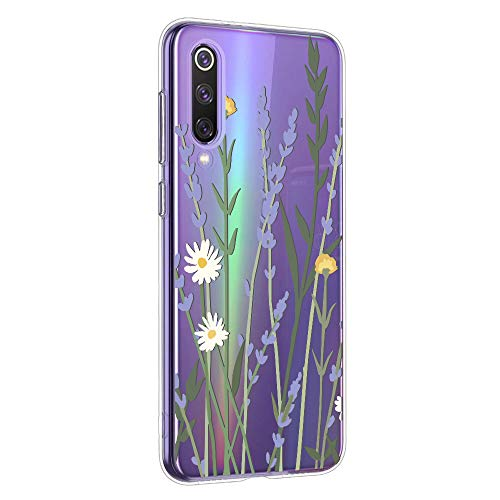 Oihxse Mandala Motif Case Compatible pour Huawei Mate 30 Coque Transparente Silicone TPU Souple Protection Etui Ultra Slim Mehndi Floral Datura Dentelle Housse Bumper (A9)