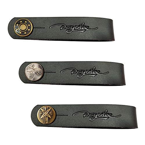 POYOLEE Leather Guitar Neck Strap Button Guitar Headstock Strap Tie, Black/Anti Copper