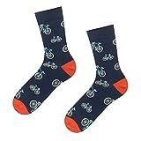 soxo Herren Bunte Fahrradsocken | Größe 40-45 | 1 Paar | Baumwolle Gemusterte Socken mit Fahrrad-Muster | Perfekt für Hohe & Flache Schuhe