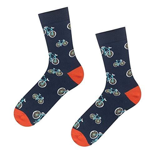 soxo Herren Bunte Fahrradsocken | Größe 40-45 | 1 Paar | Baumwolle Gemusterte Socken mit Fahrrad-Muster | Ideal für Hohe und Flache Schuhe