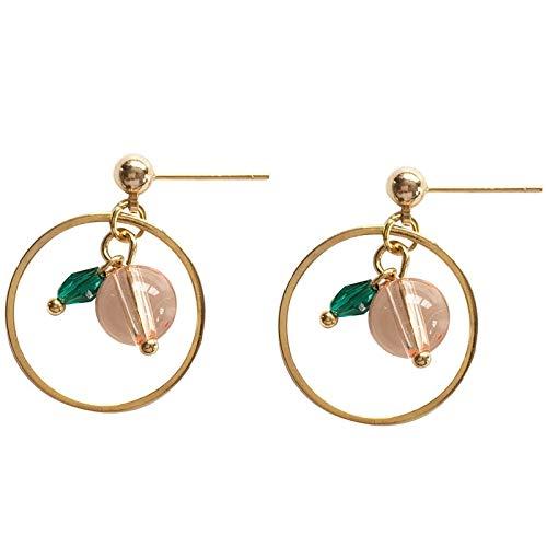 FEARRIN Pendientes Joyería de Moda Pendientes Bonitos Joyería Neeldle Joyería Chapado en Oro Pik Pendientes Circulares de Cristal Verde para Mujeres Regalos Clip