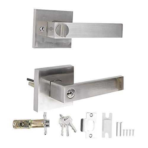 Entry Door Lever, Security Keyed Square Handle Lock Square Handle Door Lock, with Adjustable Bolts for Bathroom Bedroom