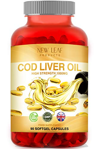Cod Liver Oil Capsules High Strength 1000mg - Rich in Omega 3 Fatty Acids + Vitamins A & D - Helps Maintain Healthy Heart Eyes and Skin - Fish Oils GMO-Free, Gluten-Free, GMP - UK Made, 90 SoftGels