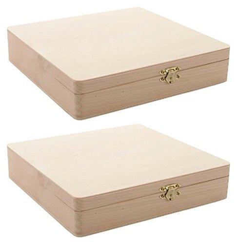 2-Pack - Darice 9180-06 Unfinished Cigar Box, 8.375' x 8.125' x1.75' …