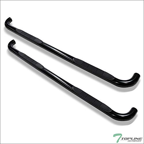 Topline Autopart 3 Inch Black Side Step Nerf Bars Rail Running Boards For 2001-2004 Chevy S10 / GMC Sonoma Crew Cab