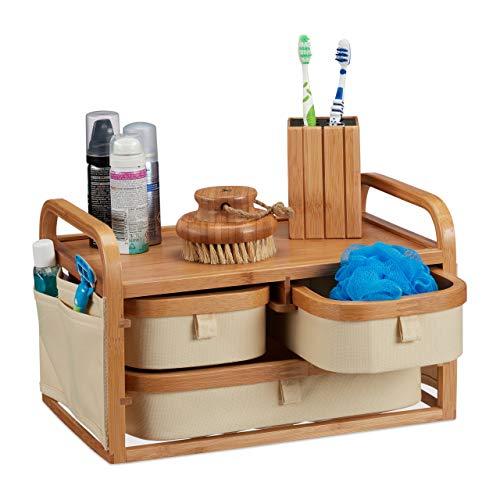 Relaxdays, Natur Mini Kommode Bambus, 3 Fächer, kleines Badregal, Stoff, Kosmetikorganizer Landhaus, HBT 19 x 34 x 23 cm, Standard