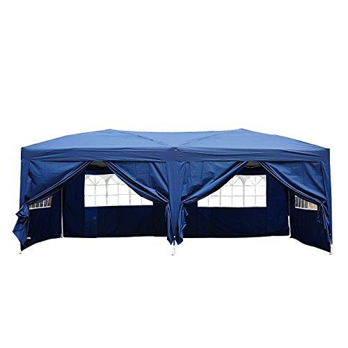 HOMCOM Tonnelle Tente de Reception Pliante pavillon chapiteau Barnum 5,91L x 2,97l x 2,55H cm Bleu Cote demontables