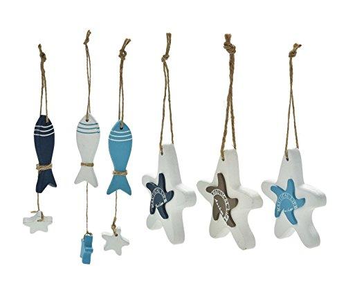 6 piezas de madera mediterránea de mar peces caballo de la estrella colgando decoraciones náuticas pared colgando artesanías de regalo