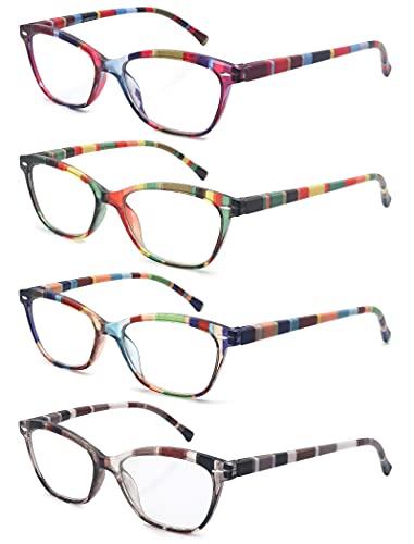 HEEYYOK 4 Pacco Occhiali da Lettura Leggero Moda Cerniere a Molla di Qualita Occhiali da Vista per Uomo Donna Mescola Colore