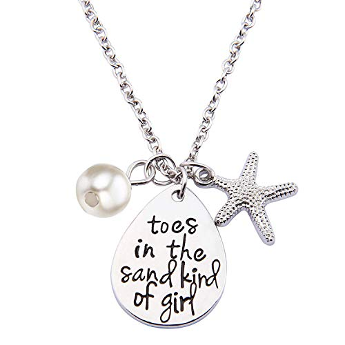 Ensianth Toes In The Sand Kind of Girl Engraved Charms Necklace Beach Jewelry with Starfish (waterdrop necklace)