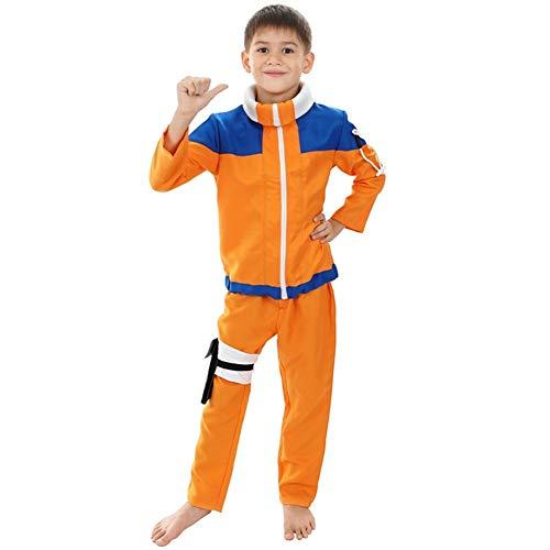 Wnkls Calssic Anime Cosplay Naruto Kinder Cosplay Kostüme Juvenile Uzumaki Naruto (Color : Size 130)