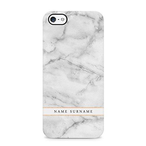 Personalized Customizable First And Last Name Iniziale Text Custom Marmo Bianco Custodia Protettiva in Plastica Rigida Case Cover Compatible with iPhone 5 / 5s / SE Case