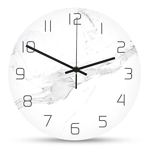 Jroyseter Moderne Marmor Wanduhr Acryl Runde Wanduhr Nicht Ticking Silent Clock Einfachheit Wohnzimmer Dekoration Stummes Uhrwerk (Weiß)