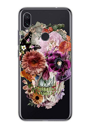 Suhctup Transparente Funda Compatible con OnePlus 7,Carcasa Protectora de TPU Ultradelgada Flor y Calavera Diseño Anti-Choques Resistente Case Cover para OnePlus 7(7)