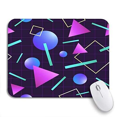 Adowyee Gaming Mouse Pad Vaporwave 80 Pattern Retro 1980S Miami Neon Party Geometric 9.5'x7.9' Nonslip Rubber Backing Mousepad for Notebooks Computers Mouse Mats
