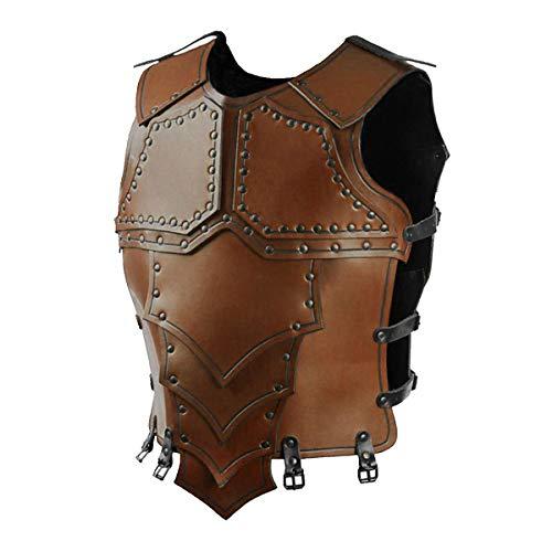 iiniim Herren Weste Mittelalterliche Rüstung Kostüm Reiter Fechten Krieger Brust Jacke Cosplay Halloween Karneval Bühne Kostüm Braun Einheitsgröße