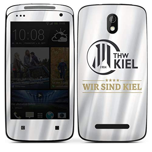 Folie kompatibel mit HTC Desire 500 Aufkleber Skin aus Vinyl-Folie THW Kiel Handball Offizielles Lizenzprodukt