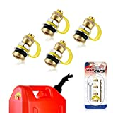 Magicfour Fuel Gas Can Vent Caps, 4 Pack Fuel Gas Can Vent Kits Fuel Gas Tank Vent Caps for Gas Can Fuel Tank Water Jug to Allow Faster Flowing (New Upgrade, with Lanyard-Attached Cap)