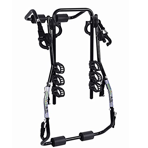 LZL Deluxe Black 3-Bike Trunk Mount Bicycle Carrier Rack. (Compatible with Most Sedans/Hatchbacks/Minivans and SUVs.)