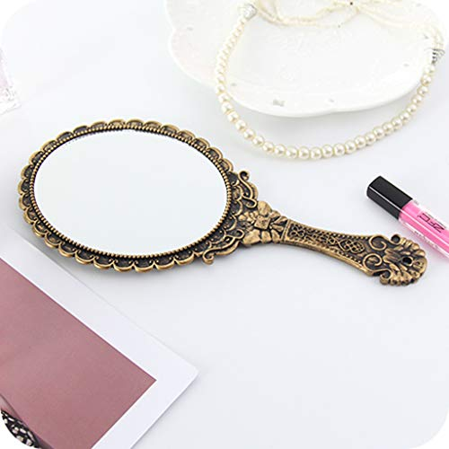 Handheld Make-up Spiegel Draagbare Draagbare Retro Kant Spiegel Hd Handvat Make-up Graveren Spiegel Hd Handvat Make-up Spiegel