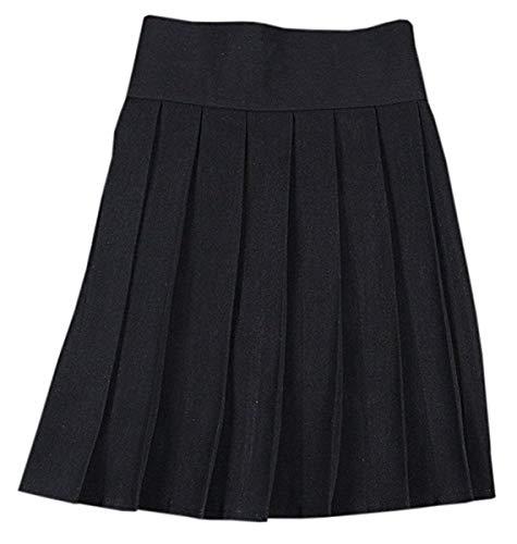 NAWONGSKY Women's Elastic Waist Solid Plain Pleated School Uniform Cosplay Costume Skirt, Black, Tag S = US XS