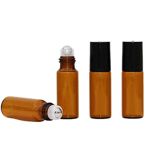 Hustar 15 Pièces 5ml Roll on Bouteille en Verre Rechargeable Bouteille Vide pour Huile Essentielle Parfum Marron