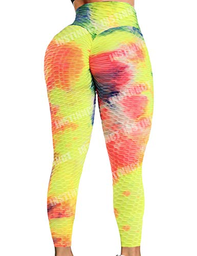 INSTINNCT Womens Yoga Pants High Waist Seamless Compression Booty Push up Hip Anti Cellulite Squat Proof Fitness Leggings Gym Workout Tights #0 A-Tie Dye Rainbow,M